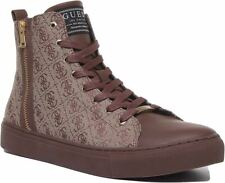 Guess Fm7Lsmfal12 A-Luiss Mid Lace Up Hi Trainer In Brown Size Uk 6 - 12