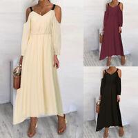 Womens Long Sleeve Cold Shoulder V-Neck Dress Beach Party Long Maxi Swing Dress