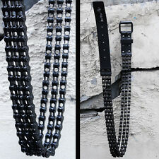 BytheR Men's Korean Fashion Modern Bicycle Rock Black Metal Chain Fashion Belt