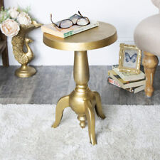 Muted Gold Vintage Distressed Aged Pedestal Occasional Side Table Living Room