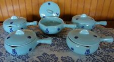 Cronin Pottery Tulip Blue Handled French Soup Casseroles w Lids A&P Tea Company