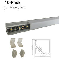 10Pack 1M V-Style Aluminum Channel profile w/Cover End Up for LED light Strip
