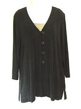 Laura Ashley Black Slinky Stretch Knit Travelers Button Cardigan Jacket Shirt M