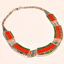 """Nepali Gemstone Tibetan Necklace 18"""" Stylish Looking Turquoise With Red Coral"""