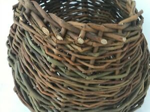 Hand woven Willow Flower Baskets with Handle to Hang.  Ireland