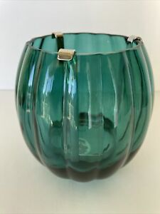 Bath & Body Works Blue Green Glass PUMPKIN Single Wick Candle Holder