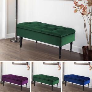 Storage Box Luxury Stool Wood Legs Ottoman Box Crushed Velvet Padded  Long Bench