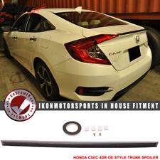 Fits 16-20 Honda Civic X 4Dr Sedan Oe Style Unpainted Trunk Spoiler - Abs