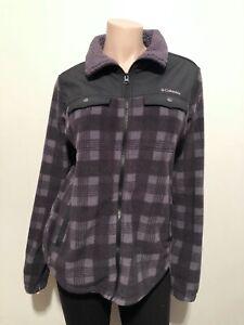 Columbia Fleece Full Zip Jacket Blue Gray Plaid Women's Size Medium M
