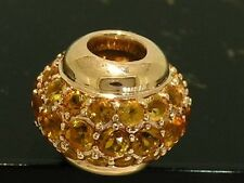 Bd040- Genuine 9ct Solid  Rose Gold NATURAL Citrine Pave-set Bead LARGE & Heavy