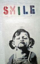 Framed Print - Banksy Street Art SMILE (Graffiti Picture Poster Artist Artwork)