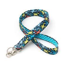 Cute Key Lanyard Handmade ID Holder Key Strap Fabric - frogs blue lime blue dots