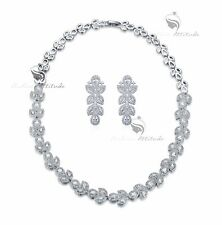 18k white gold plated crystal stud earrings necklace party wedding set luxury