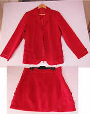 D-048 LADIES VINTAGE 60s HAND MADE DARK RED JACKET AND SKIRT SZE 14 AS NEW