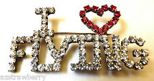 Silver tone metal Clear Red Love Flying Heart Crystal rhinestones pin brooch