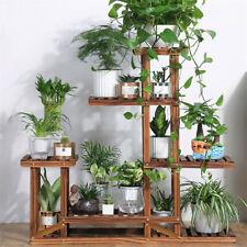 6-Tier Wooden Plant Flower Pot Display Stand Shelf Storage Rack Outdoor Indoor