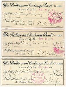 Carson City Nevada Bullion & Exchange Bank Three 1888-95 Checks (San Francisco)