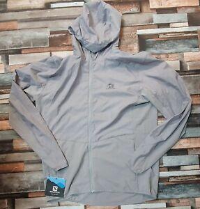 Salomon Agile Full-Zip Hooded Wind Jacket, Alloy, Men's Medium RRP £120