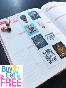 S-005 -- Hot Coffee, Coffee Cup Planner Stickers for Erin Condren, plum planner