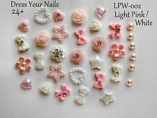 "24 x ""3d PINK +WHITE Nail Art ""  Bow Hearts Pearls Decoration Crafts - LPW-002"