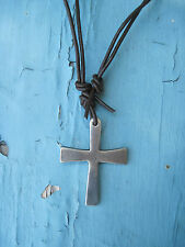 Coptic Cross Necklace * Hand Sculpted * Supple Leather & Mixed Metals $145