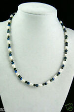 Sterling silver 925 clasp spacers Genuine white Rice Pearl blue glass necklace