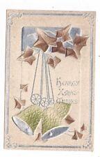 Antique embossed Christmas Post Card Oak Brown Ivy Leaves Bells Silver Foil