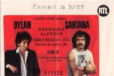ticket billet place concert used BOB DYLAN + SANTANA 1984 Grenoble FRANCE
