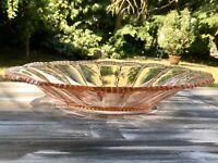 Antik Art Déco ovale Schale Pressglas Glasschale Rosalin rosa Obstschale