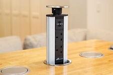 V2GSSB-UK Stainless Steel Power Point Pop Pull Up Socket Plug USB Kitchen Floor