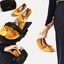 ZARA MUSTARD SOFT SATEEN BALLERINAS PUMPS FLATS WITH BAG EUR 38/USA 7.5/UK 5