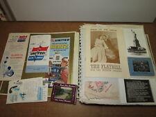 1940's-50's USA travel scrapbook many postcards photos menus brochures ephemera