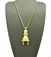 """Mens 14K Gold Plated Electric Plug Power Pendant 24"""" Box Chain Necklace DS005G"""