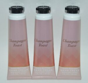 3 BATH & BODY WORKS CHAMPAGNE TOAST SHEA BUTTER HAND CREAM LOTION 1OZ TRAVEL