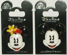 Disney Classic Pie Eyed Mickey & Minnie Mouse Head Enamel 3-D 2 Pin Set NEW CUTE