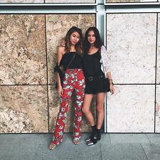 Finders Keepers Broadway Rojo Negro Estampado de Flores FLARE TROUSER PANT XS 6