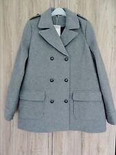 ZARA gris jaspeado doble abotonadura estilo militar abrigo talla L