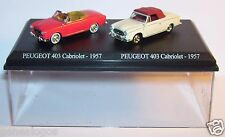 COFFRET ATLAS DUO UH 2 METAL PEUGEOT 403 CABRIOLET 1957 ROUGE COLOMBO HO 1/87