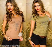 Top Maglietta Donna T-Shirt Maniche Corte MISSY 060104-C064 Tg S/M M/L  **