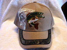 KISS MY BASS FISH FISHING OUTDOOR FISHERMAN BASEBALL CAP HAT ( BEIGE )