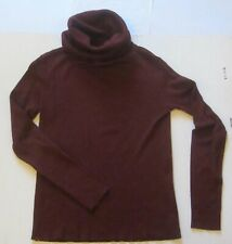 Vtg COWL Neck SWEATER Size M Long Sleeve Turtleneck Acrylic Wool Maroon Casual C