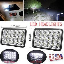 2PCS LED Hi/Low Sealed Beam Rectangular Headlights Headlamp Replace H4656/4651