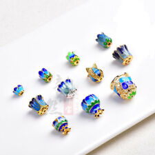1PC Blue+Gold End Cap Stopper Cloisonne Copper Beads DIY Craft Jeweley Makings