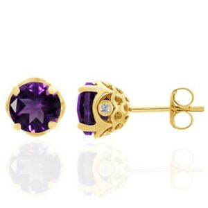 2.97 Ct African Amethyst & White Diamond 18K Gold Over Silver Stud Earrings