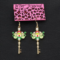 Betsey Johnson Enamel Crystal Pumpkin Carriage Key Earbob Dangle Earrings Gift