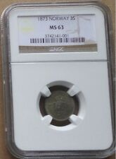 1873 NORWAY SILVER Coin 3 Skilling NGC  MS-63 , KM# 338.2 - SCARCE GRADE