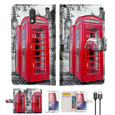 British phone Booth Wallet TPU Case Cover For  Motorola Moto G4 Plus -- A025