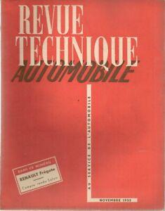 REVUE TECHNIQUE AUTOMOBILE 91 RTA 1953 ETUDE RENAULT FREGATE
