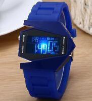 Adult Girl Boy Teen Sports Airplane LED Digital Alarm Silicone Band Wrist Watch