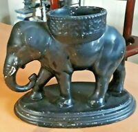 Unusual Heavy Vintage Earthenware Handpainted Black Elephant Planter Vase